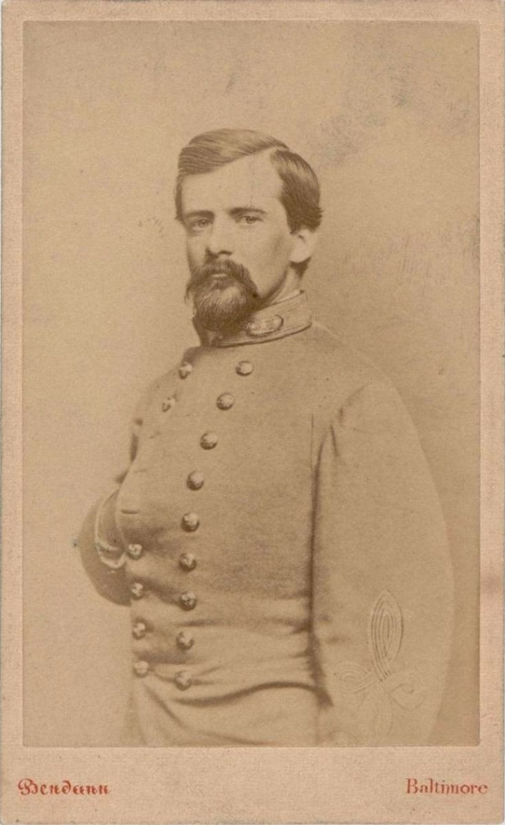 Carte-de-Visite of a half portrait of Brigadier General John Pegram in uniform between 1861 and 1865.