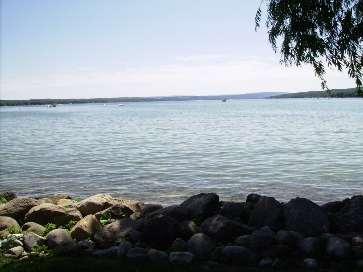 Looking South on Canandaigua Lake from Kershaw Park in City of Canandaigua down the street from the Garlock House.