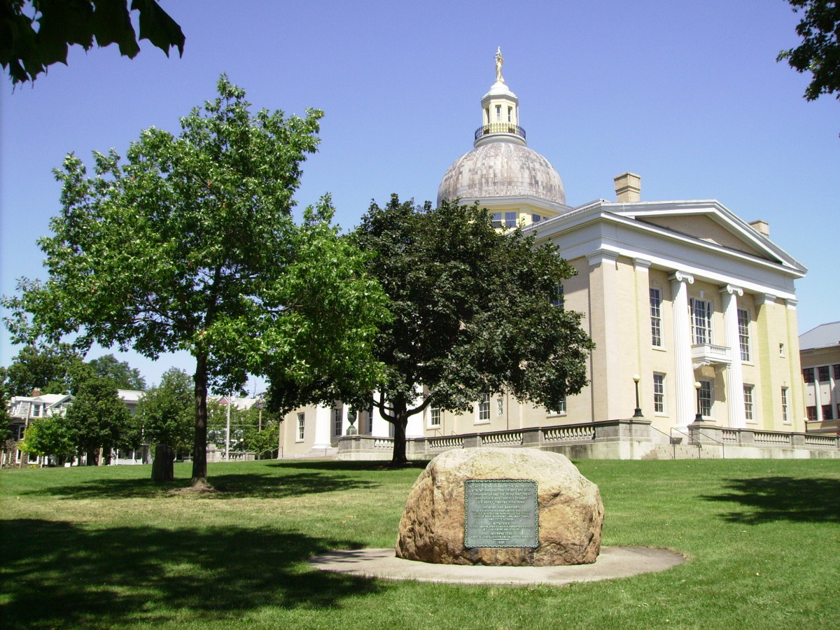 Ontario County Courthouse in downtown Canandaigua.  It was on this site on November 11, 1794 that Timothy Pickering representing the United States met with a group of sachems and Warriors, including the famous Chief Red Jacket, representing the Senec