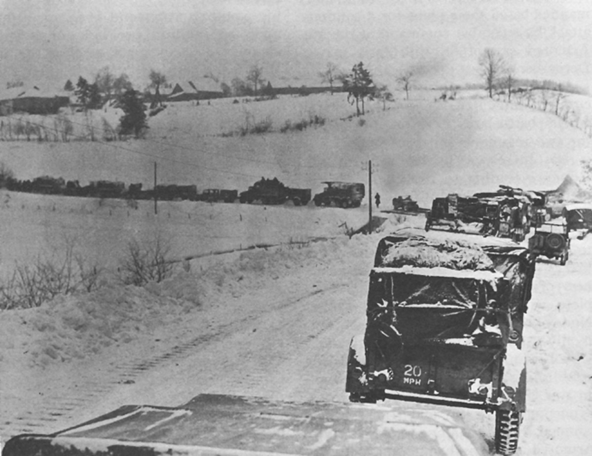Traffic jam outside of St. Vith in the early days of the Battle.