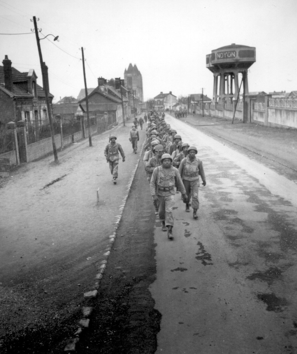 February 1945: Black infantry volunteers marching to the front