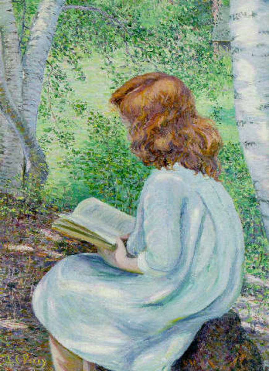 Painting of Child Reading by Lilla Cabot Perry