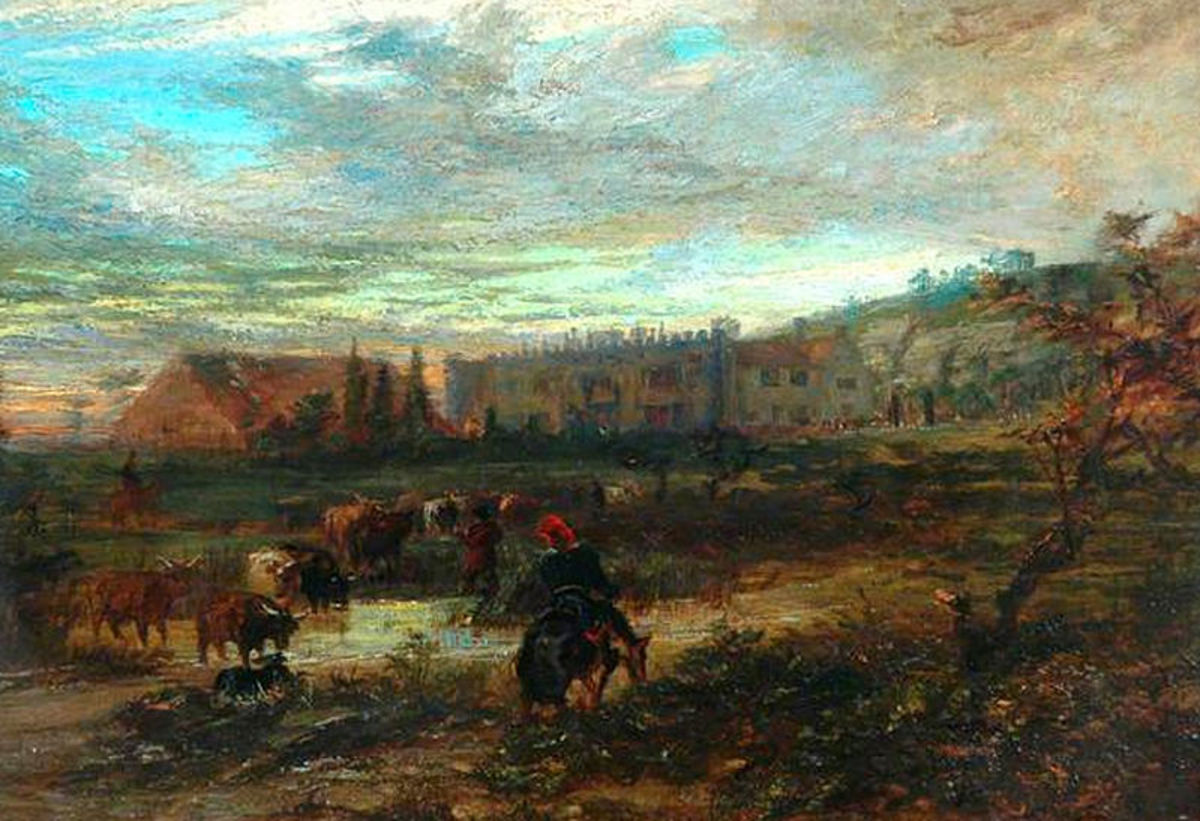 """""""High Sunderland Hall, Halifax"""" Painting by Duncan Campbell, Served as Model of Bronte's Wuthering Heights"""
