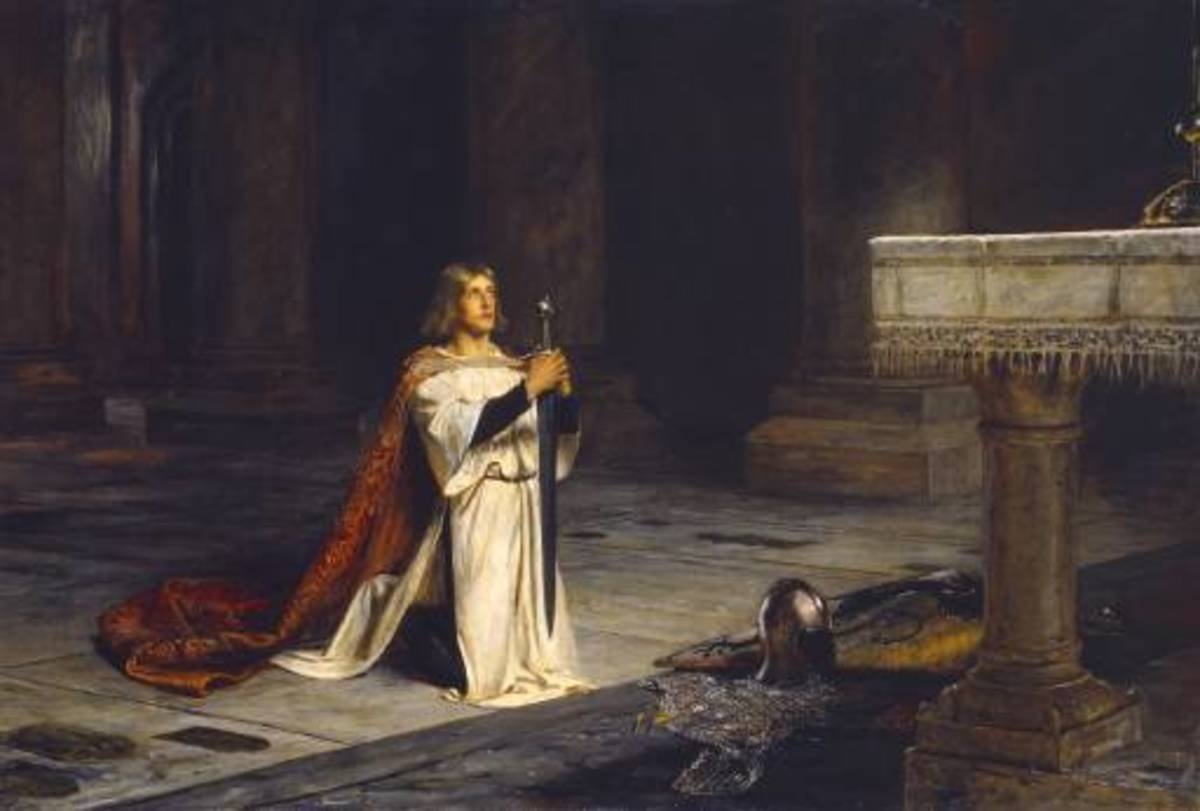 """The Vigil"" by John Pettie, Sir Gawain represents the prefect knight: brave, noble, a lover, and religious"