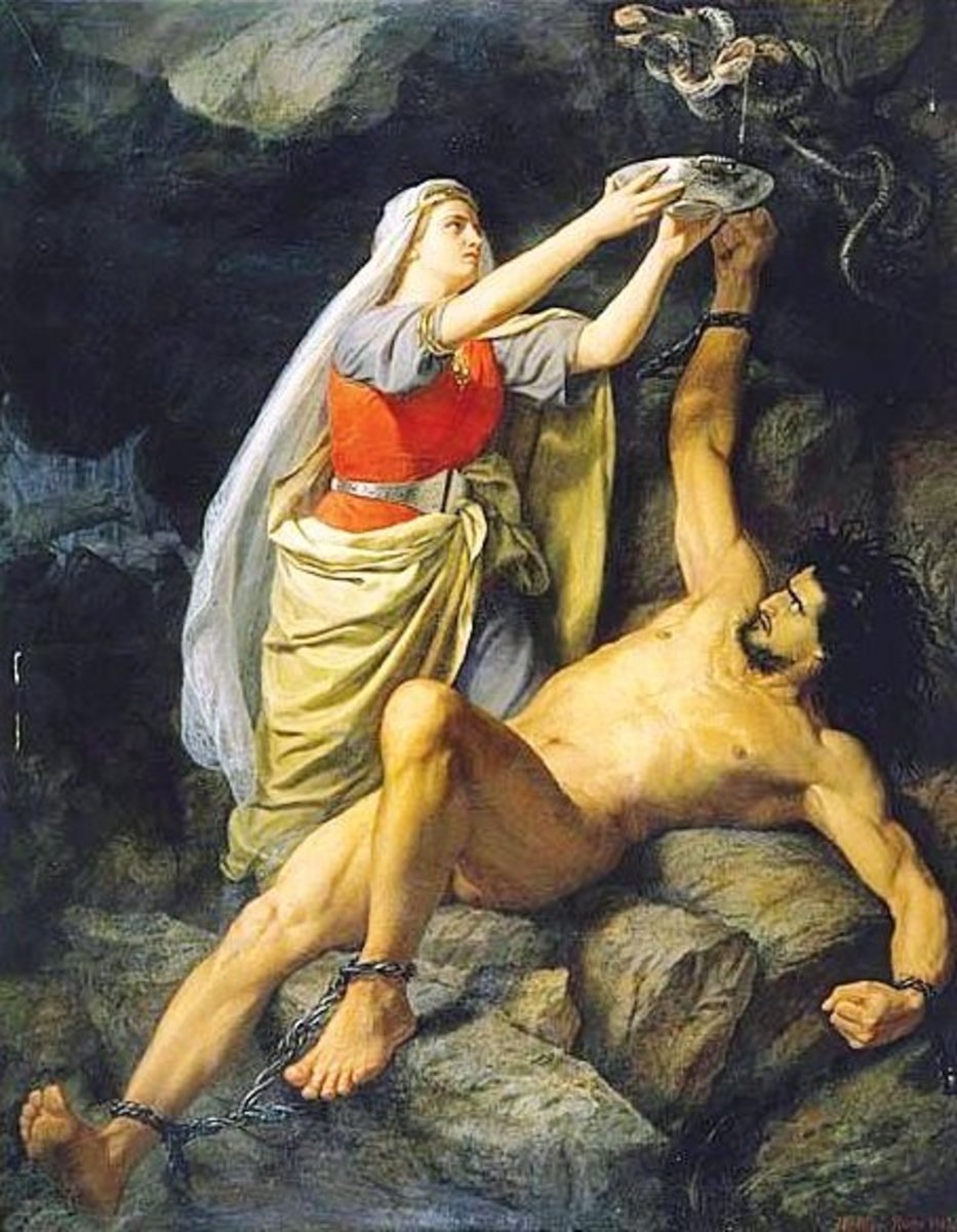 The other gods punished Loki, although he was helped by his wife.