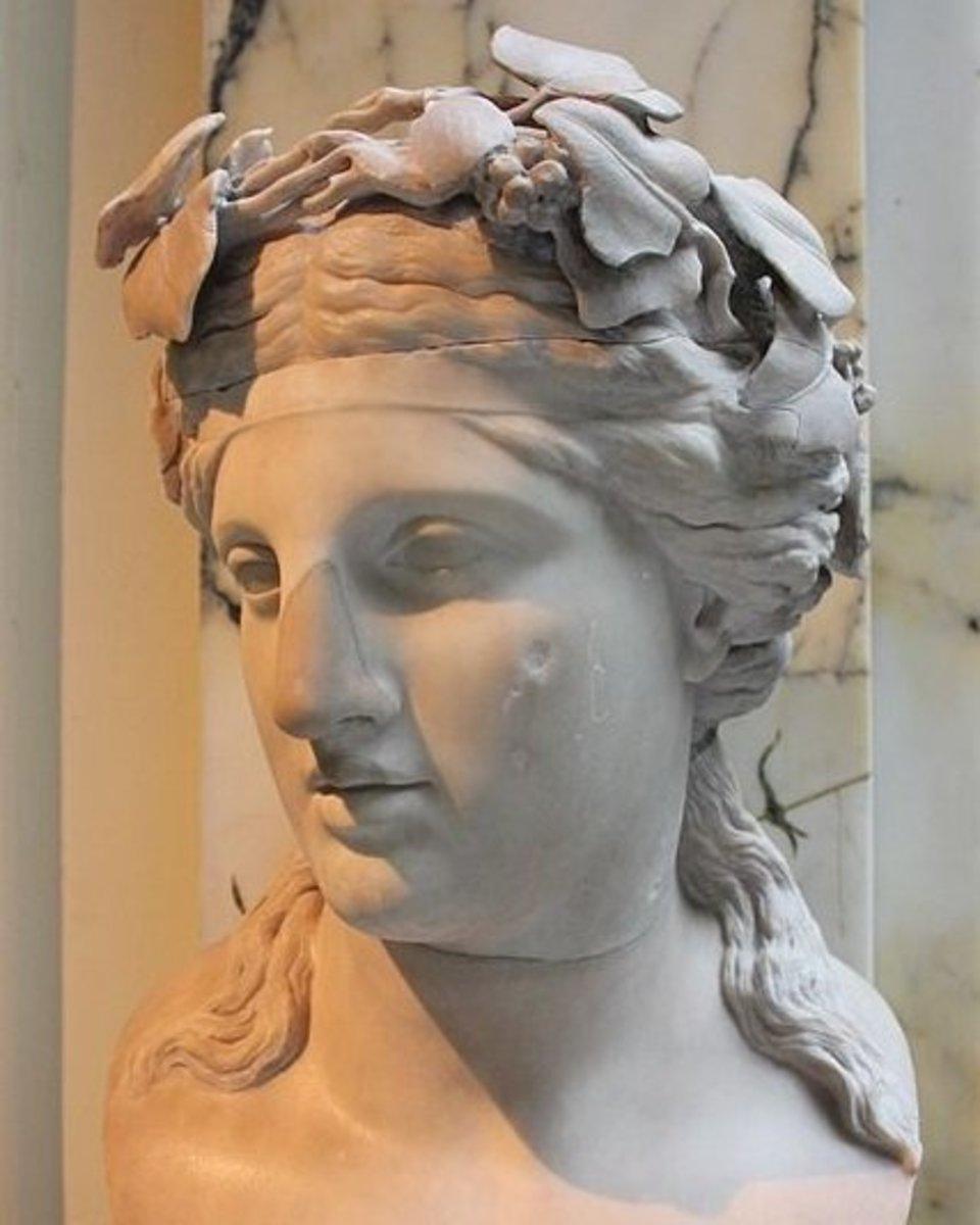A bust of Dionysus from the 2nd century.