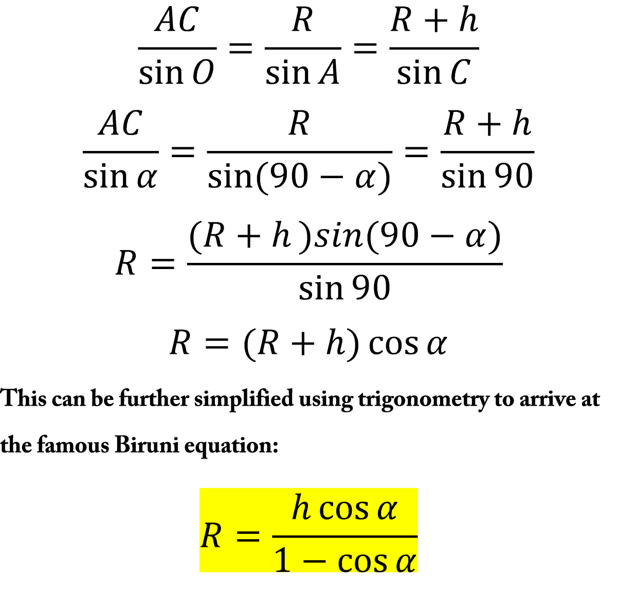 Trigonometric simplification leading to the Biruni Equation.
