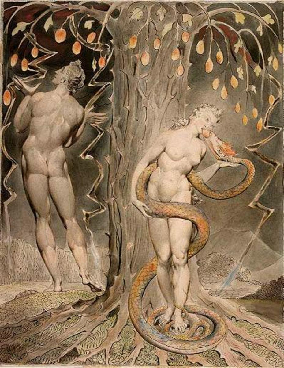 """The Temptation and Fall of Eve"" by William Blake 1808"