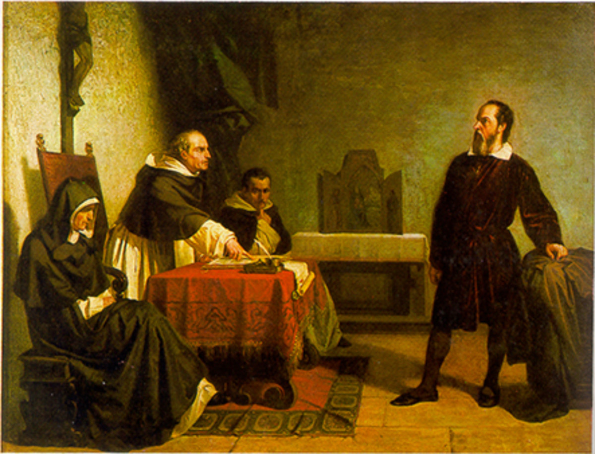 """Galileo Facing the Roman Inquisition"" painting by Christiano Banti"