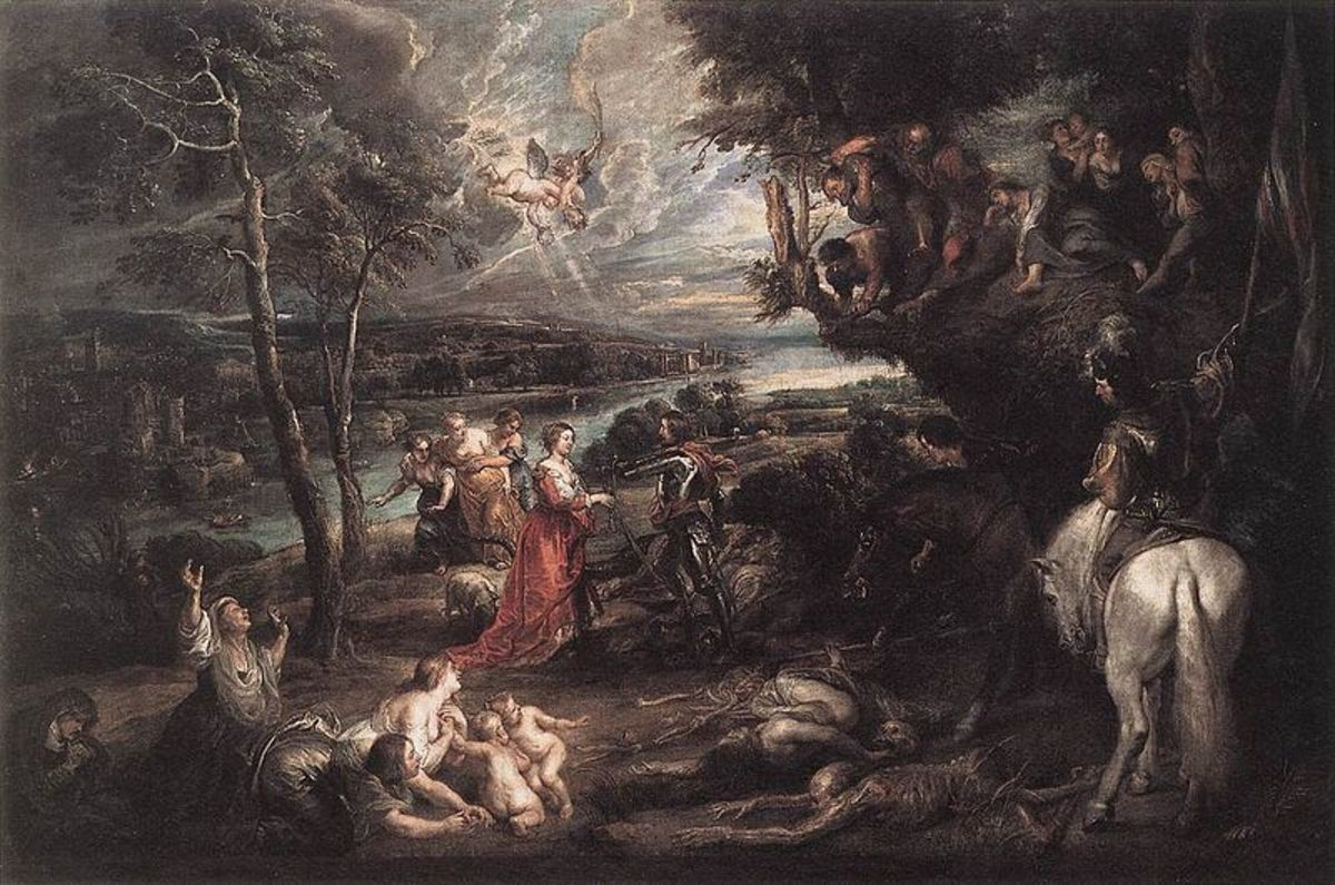 Painting of Charles with Saint George in an English landscape by Peter Paul Rubens1630
