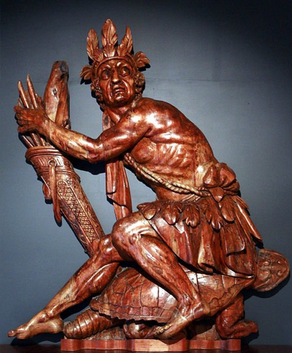 Statue of Iroquois Native American sitting on a turtle from Iroquois creation mythology