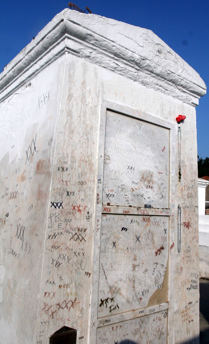 Marie Leveau's tomb marked with xxx's