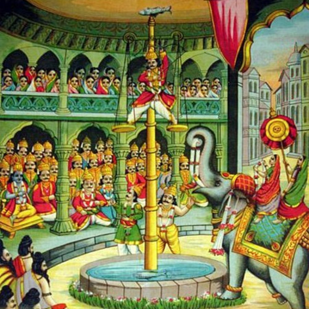 Arjuna's feat of archery won him Panchali (Draupadi) as his wife.