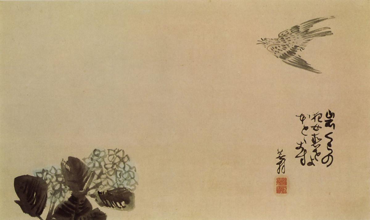 A little cuckoo across a hydrangea, a haiga by Yosa Buson(1716 - 1784)