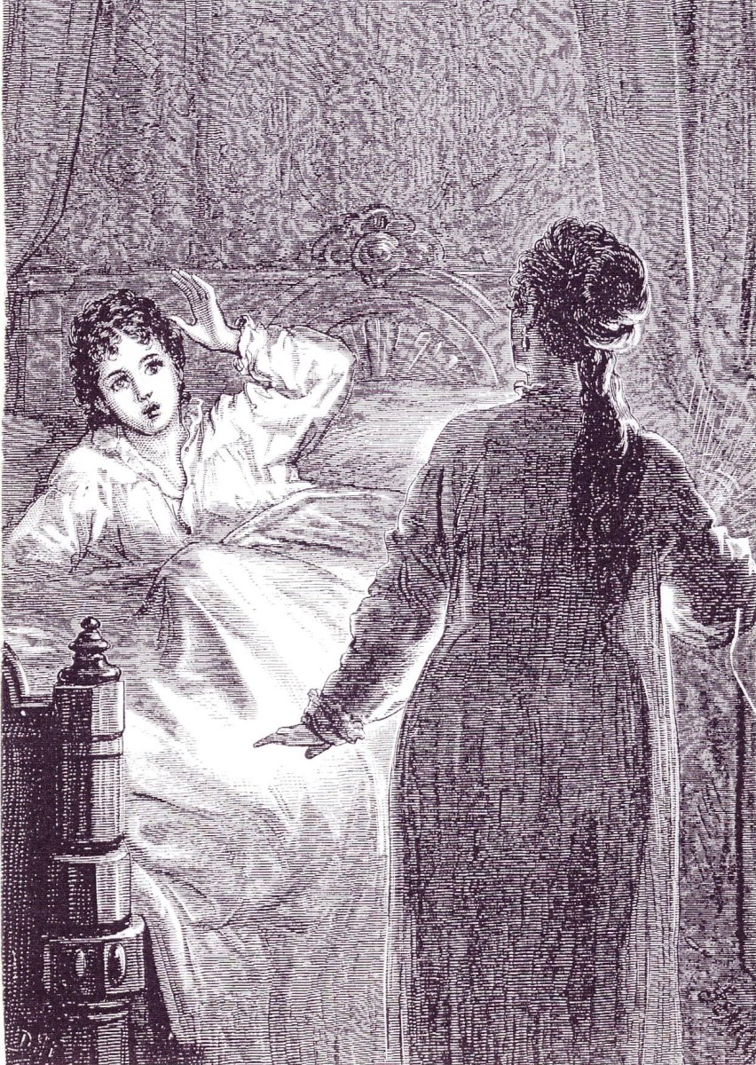 Illustration by David Henry Friston of Laura being frightened by Carmilla