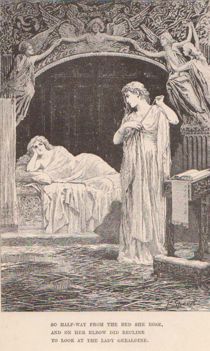 Illustration by H.J. Ford of the possibly homoerotic scene in Christabel