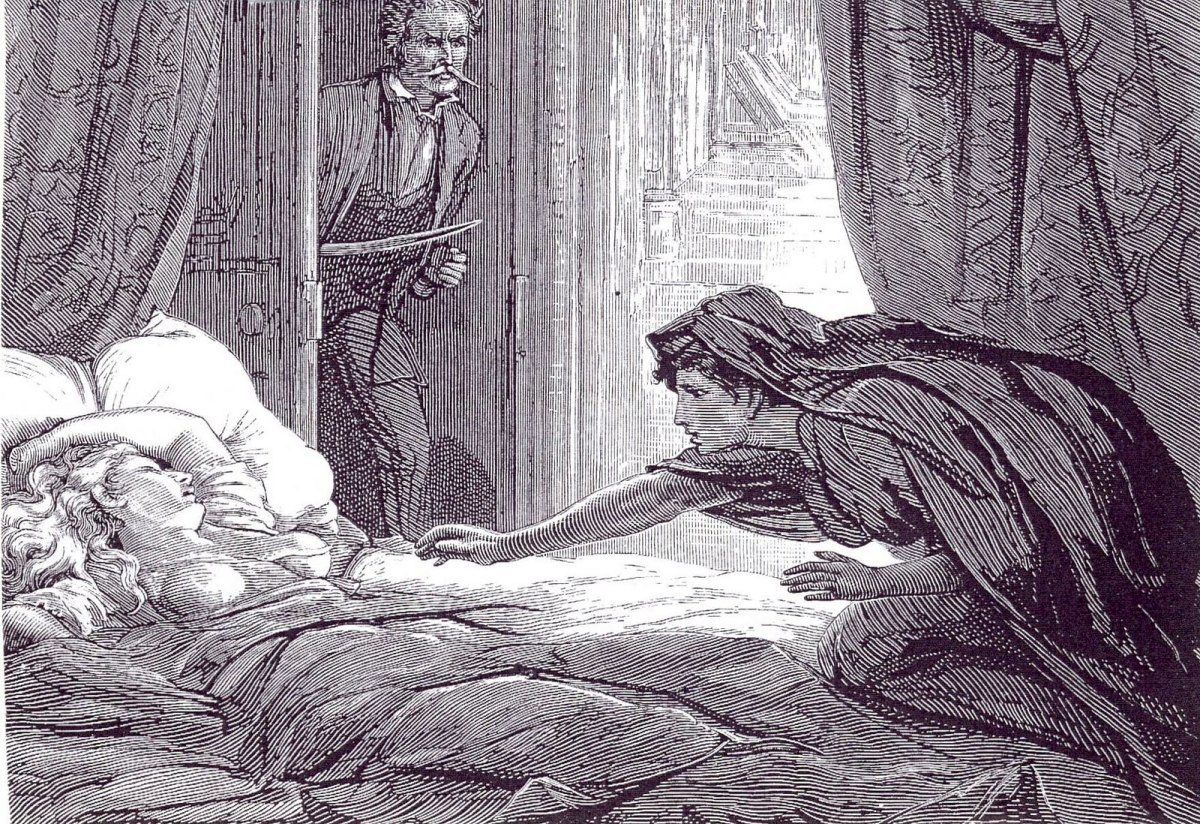 Illustration by David Henry Friston of Carmilla attacking the General's niece.