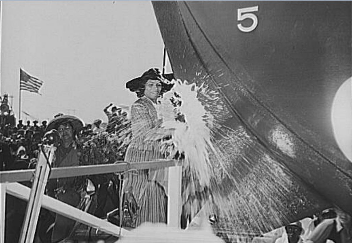 Marian Anderson christens the Booker T. Washington