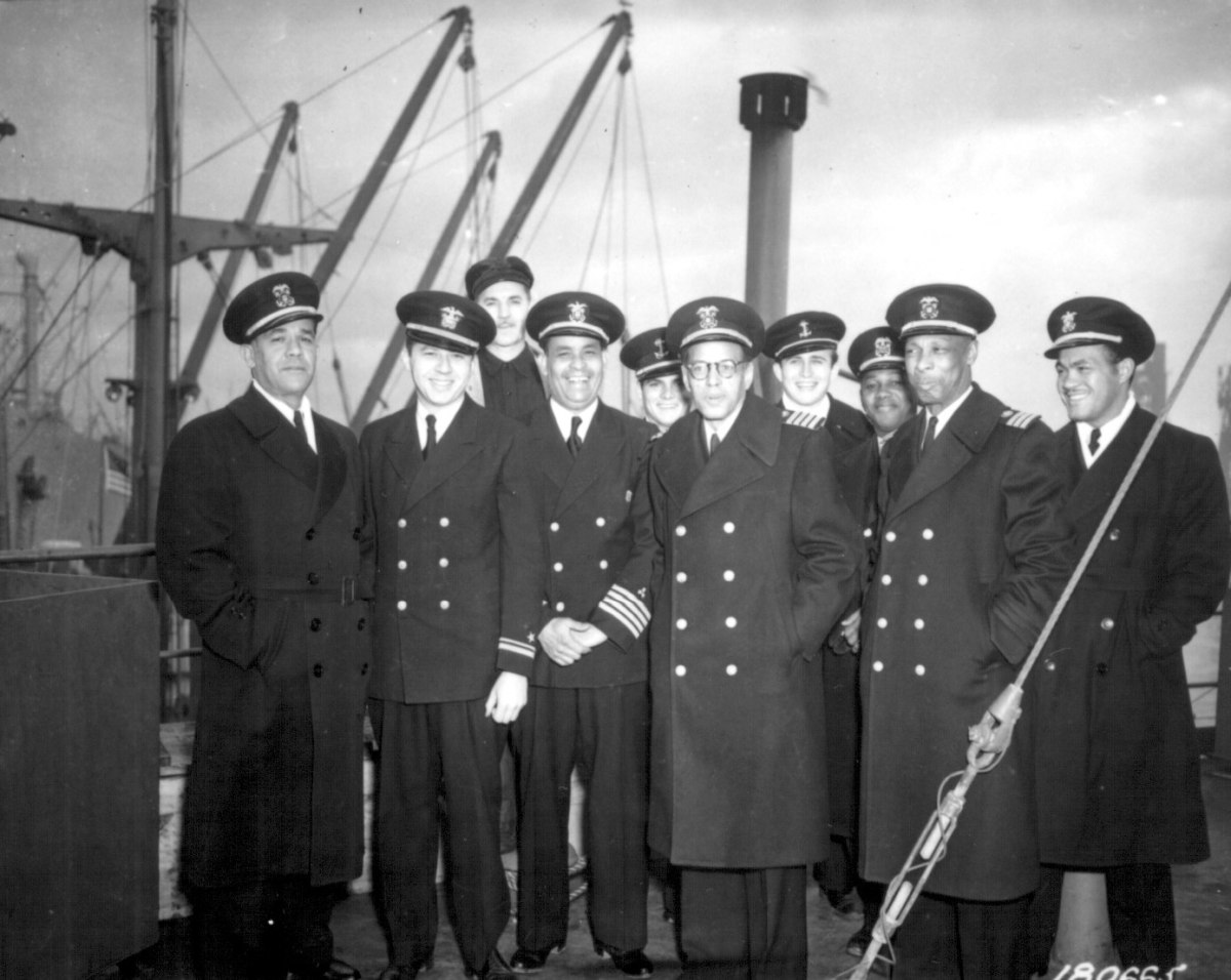 Captain Mulzac and his officers after arriving in England on the Booker T. Washington's maiden voyage