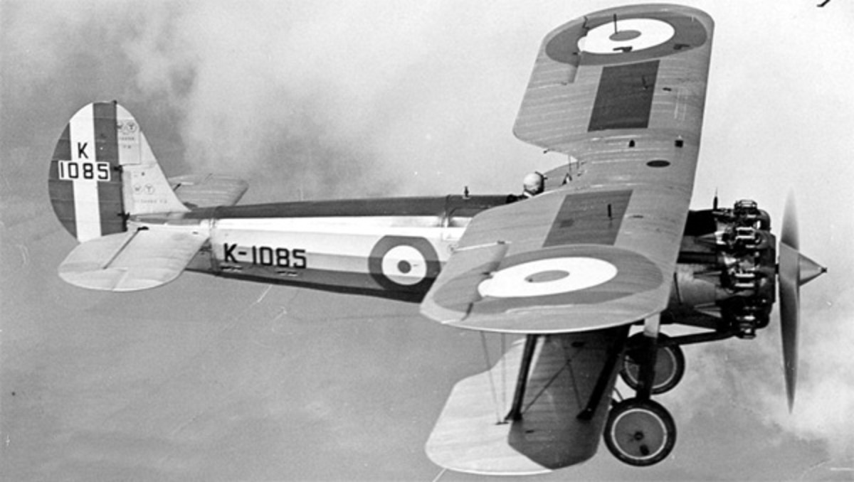 WW2: Bristol Bulldog fighter similar to the type Douglas Bader was flying acrobatics in when he crashed.