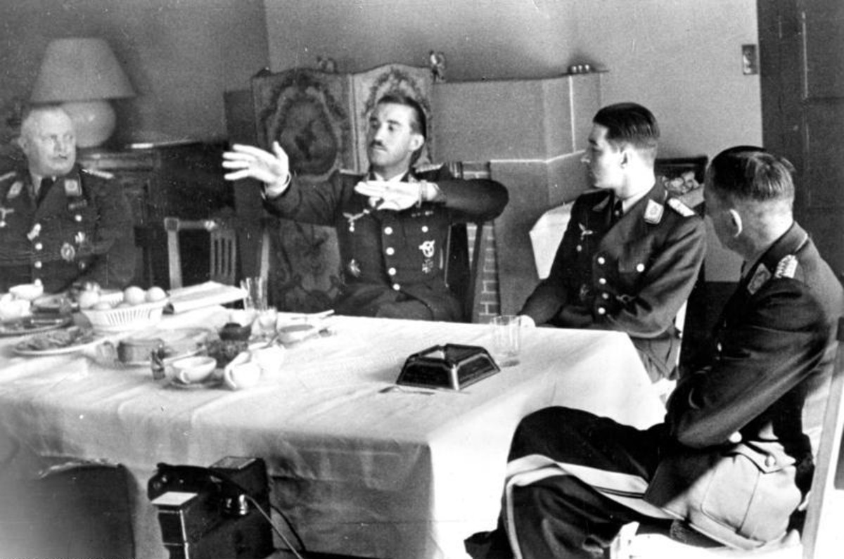 World War II: General Adolf Galland (center) at a birthday party April 1941 (a few months before Bader was shot down).