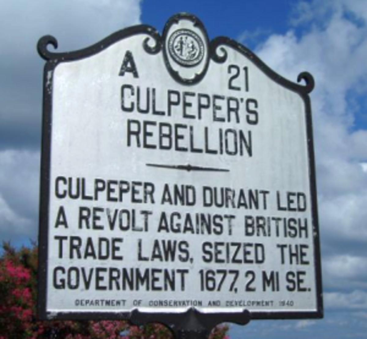 Placemarker for Culpeper's Rebellion in North Carolina.