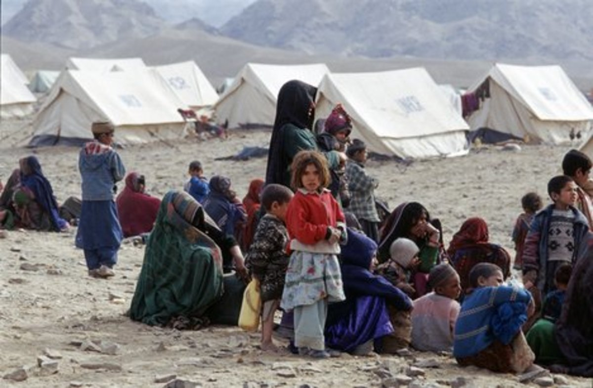Afghan refugees in camps.
