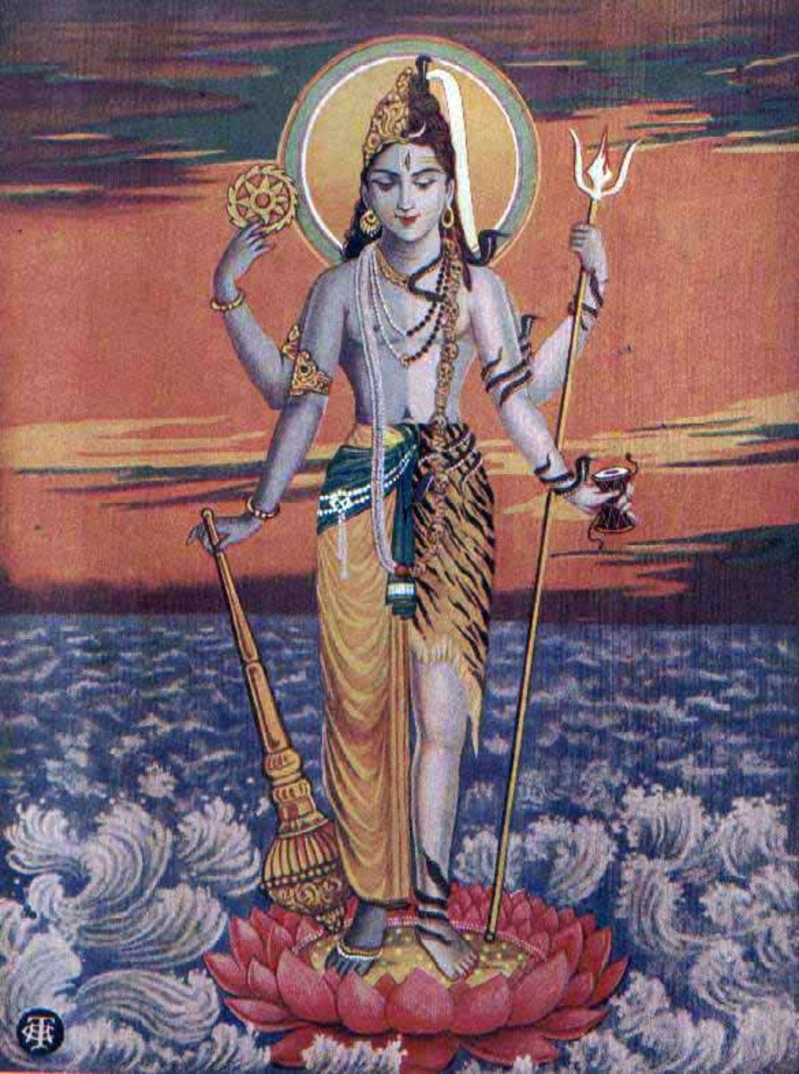 "Vishnu and Shiva in a combined form, as ""Hari-hara,"" on a print from the 1930s."