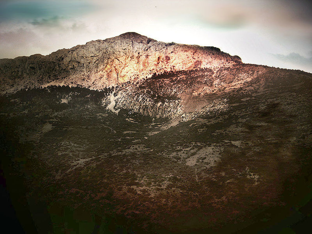 Photograph of Mount Parnassus in Greece where Deucalion and Pyrrha came ashore.