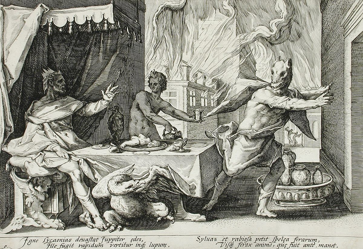 Transformation of Lycaon, 1589, Dutch engraved bookplate from Ovid's Metamorphoses.