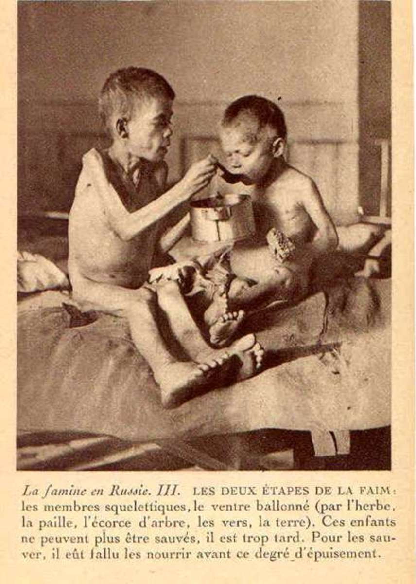 Starving Russian Children in 1922 famine.  Photo postcard sold to raise money for famine victims.