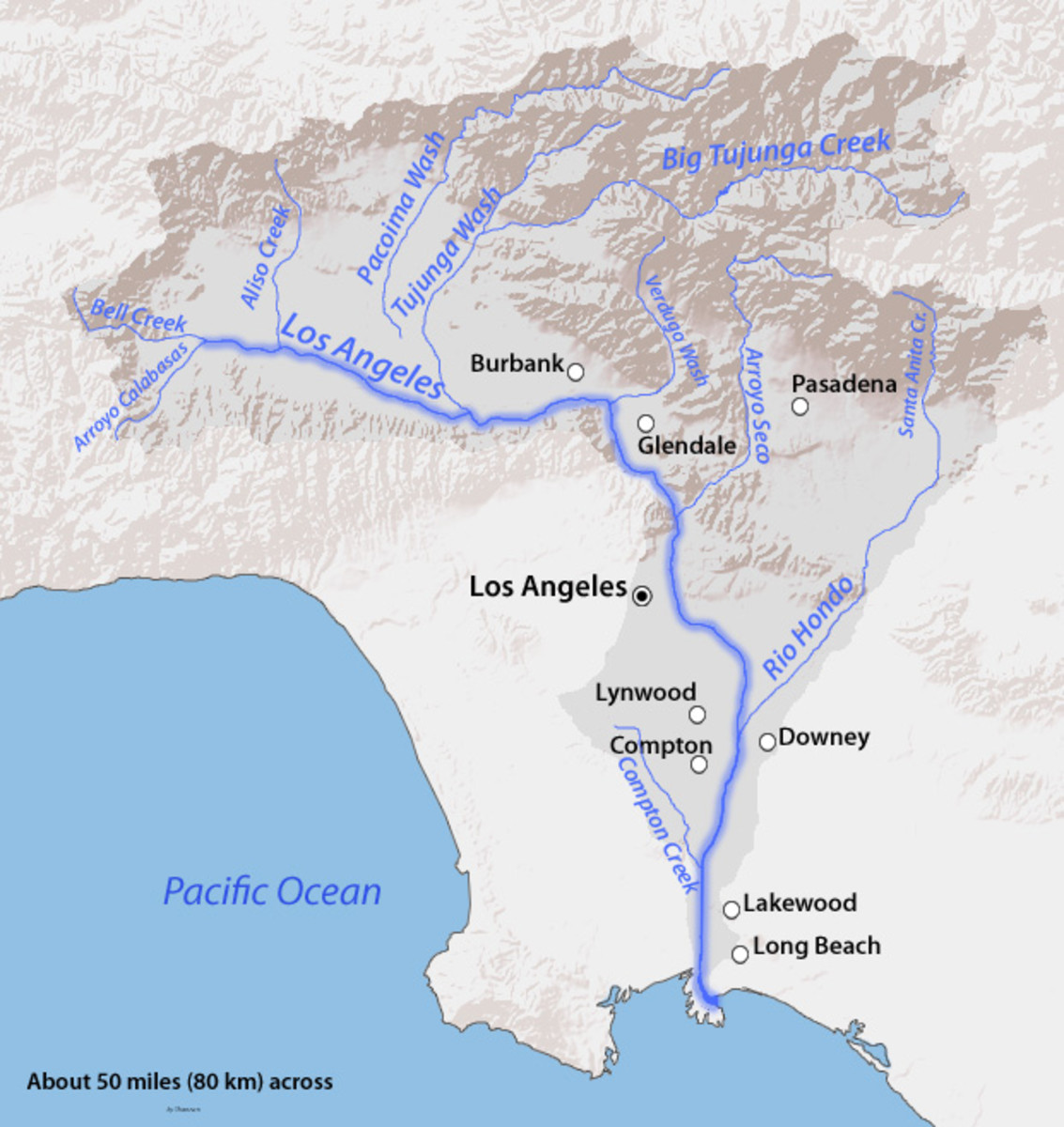 Several streams running south through the San Gabriel Mountains join  together one by one to form the river.