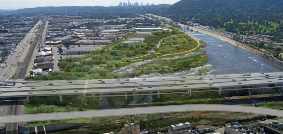 "This is an excellent sketch to use for an article about redesigning the Los Angeles River. The ""river"" is currently a drainage ditch, but this is what it could look like as a real river, with a better channel and new plantings on the side."