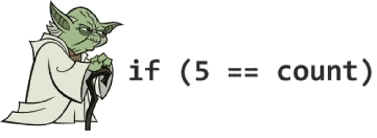 Sometimes the computer doesn't mind which order you put things in, but other programmers might find it strange if you deviate from the norm. This is called 'Yoda Coding'. The example here says 'if 5 is the count', rather than 'if the count is five'.