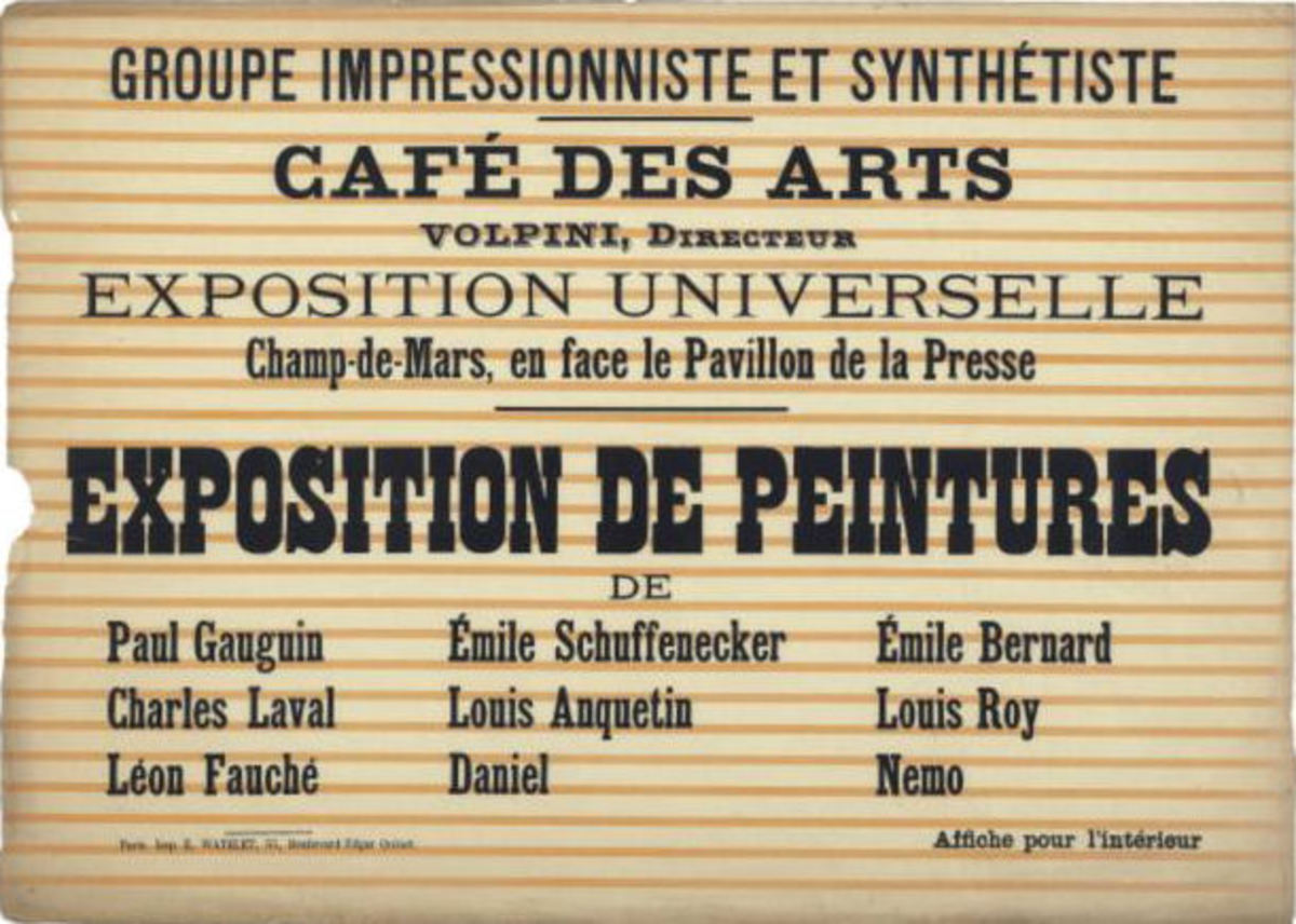 Poster advertisement for one of the Sythetist art showings of which Gauguin was an artist.