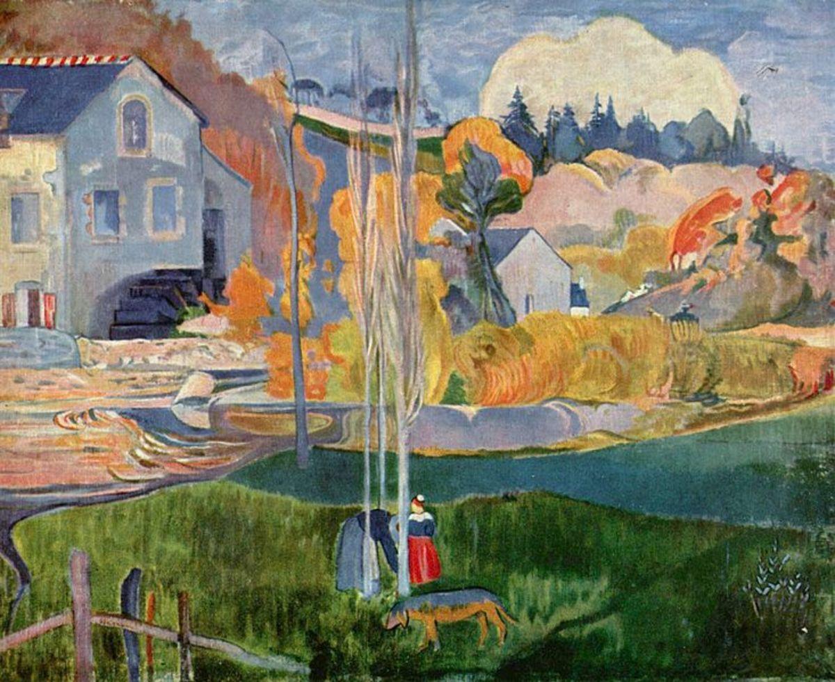 """Watermill in Pont-Aven"" (1874) by Paul Gauguin."