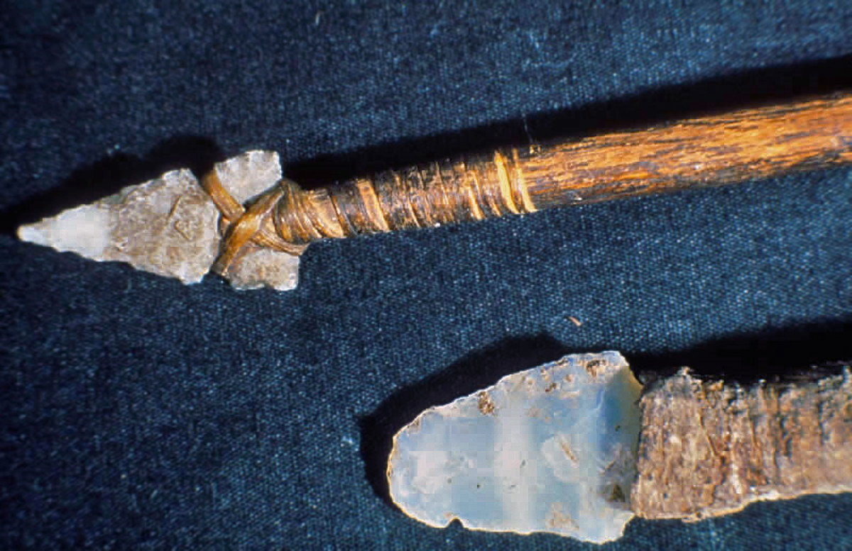 A hunting spear (above) and knife (below) found in the Mesa Verde National Park in Colorado.