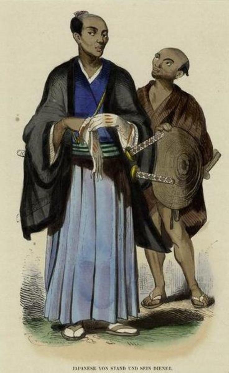 An important Japanese Samurai standing alongside his lowly servant.