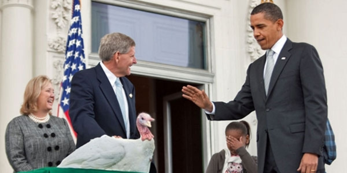 President Obama pardons a turkey, granting him a life of leisure on the farm and the promise to never end up on the dinner table!