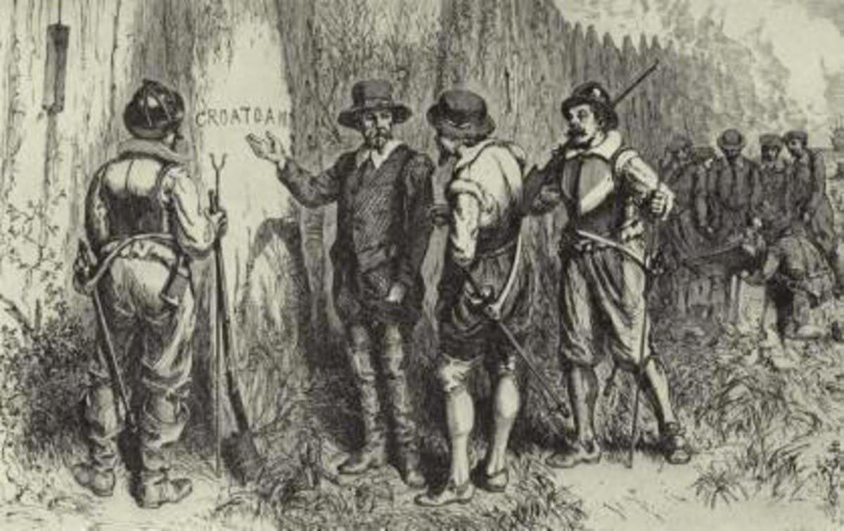"The finding of ""Croatoan"" on a tree trunk."