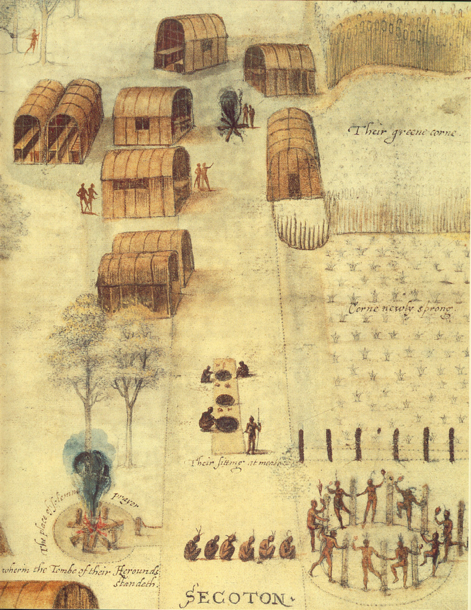 Another illustration by John White, of the abundance of a Native village (Secotan).