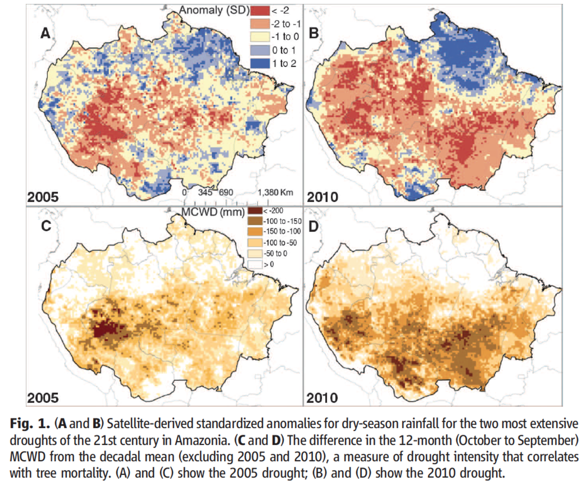 Maps of the 2005 & 2010 Amazon droughts.  From  Lewis et. al, Science, Volume 331, p. 554.