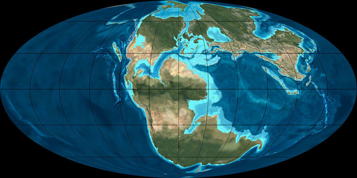 A reconstruction of the middle Jurassic Earth (170 million years ago.)  Map by Ron Blakey, courtesy Wikipedia.