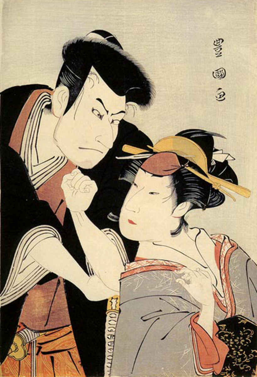 Two fashionable kabuki actors--both are men. Women were banned from the stage, so women's roles were played by onnagata (often translated as 'female impersonators', since in the Edo Period, many did live as women) who had a stranglehold on fashion.