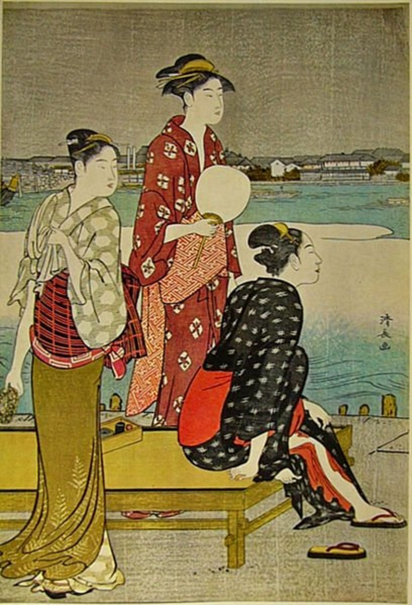 Women of the middle Edo Period wearing stylish wide obi. Print by Kiyonaga