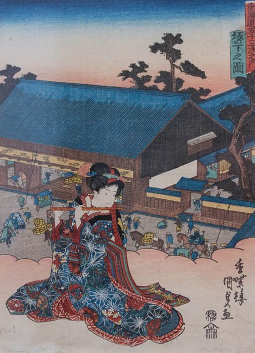 Woman of the middle Edo Period displaying her long, fluttering sleeves. Print by Utagawa