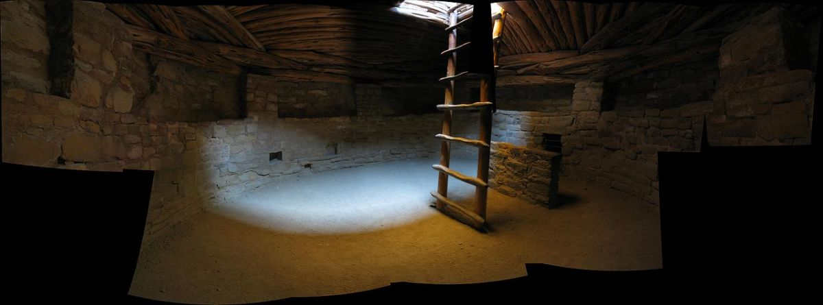 Interior panorama of a reconstructed kiva at Mesa Verde National Park. Similar to a Hopi Kiva.