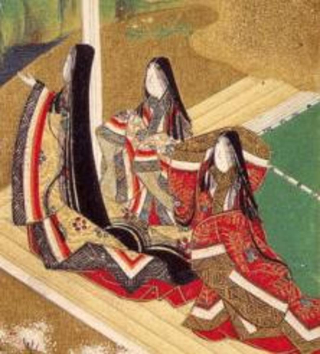 Heian ladies wearing juunihitoe, painted on a handscroll for the Tale of Genji.