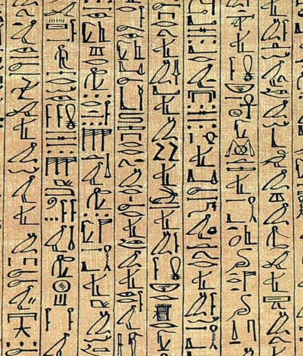 Formal writing in Egypt retained the use of pictorial symbols-hieroglyphs-for more than 3000 years. This example differs little in style from the earliest surviving inscriptions made in 3200 BC.