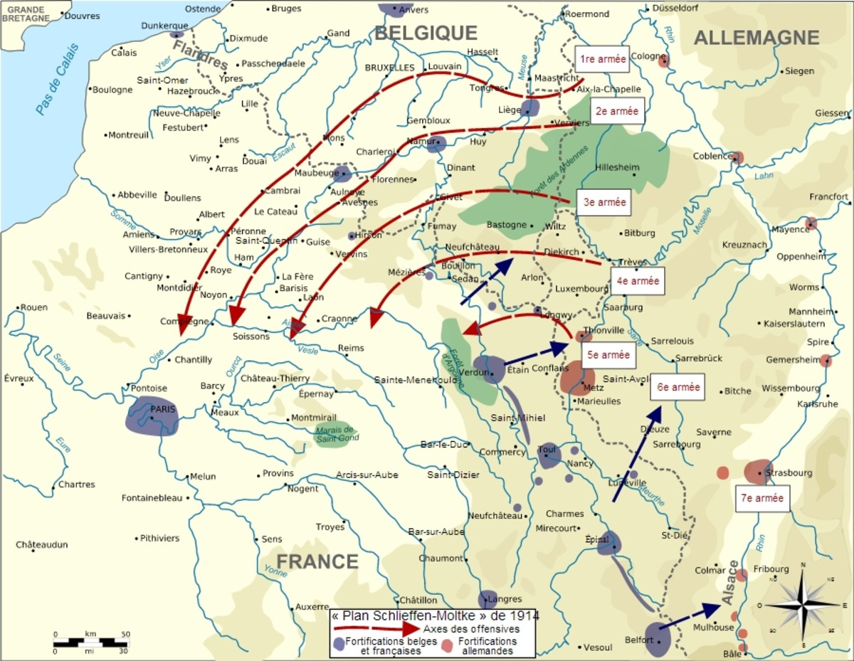 World War I: August 1914 German plan of attack in red; French plan of attack in blue.